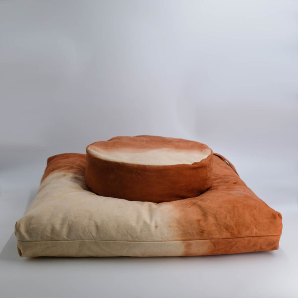 meditation cushion set naturally dyed sustainable organic cotton desert sunset side view