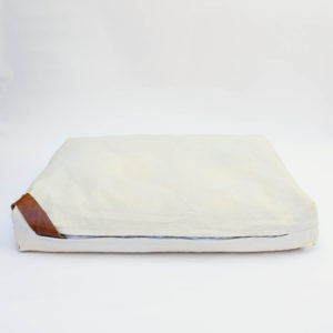floor cushion naturally dyed sustainable organic cotton borrego sand cognac side view