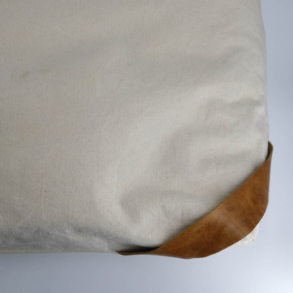 floor cushion naturally dyed sustainable organic cotton borrego sand cognac close view