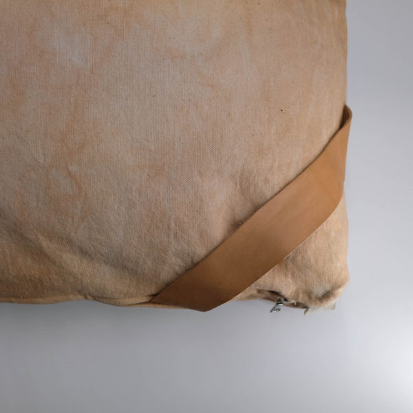 floor cushion naturally dyed sustainable organic cotton pink sandstone close view