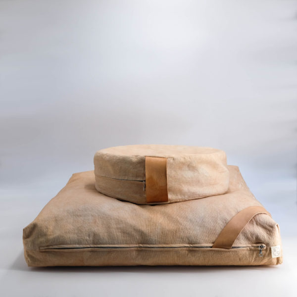 meditation cushion set naturally dyed sustainable organic cotton blush side view