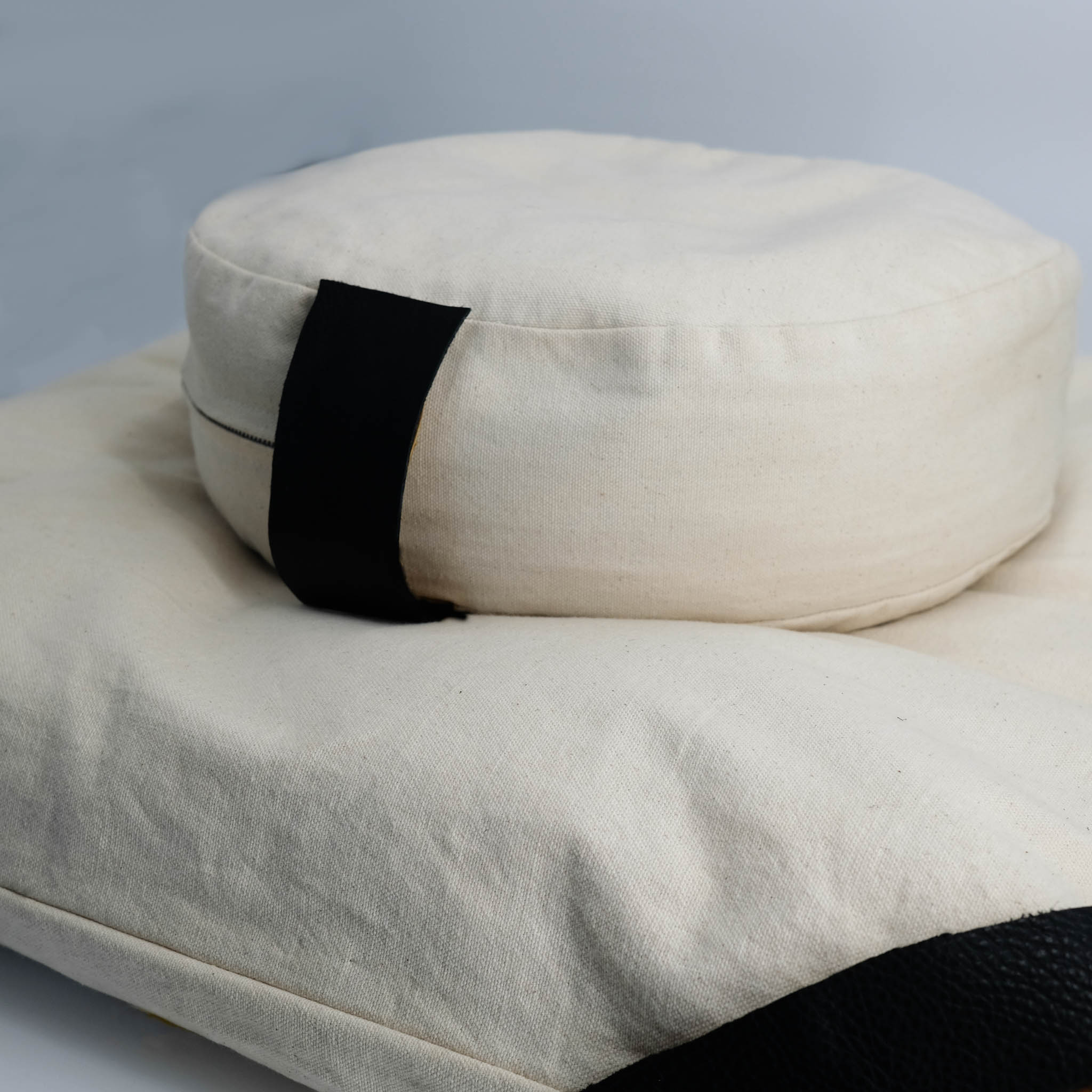 meditation cushion set naturally dyed sustainable organic cotton natural black top view
