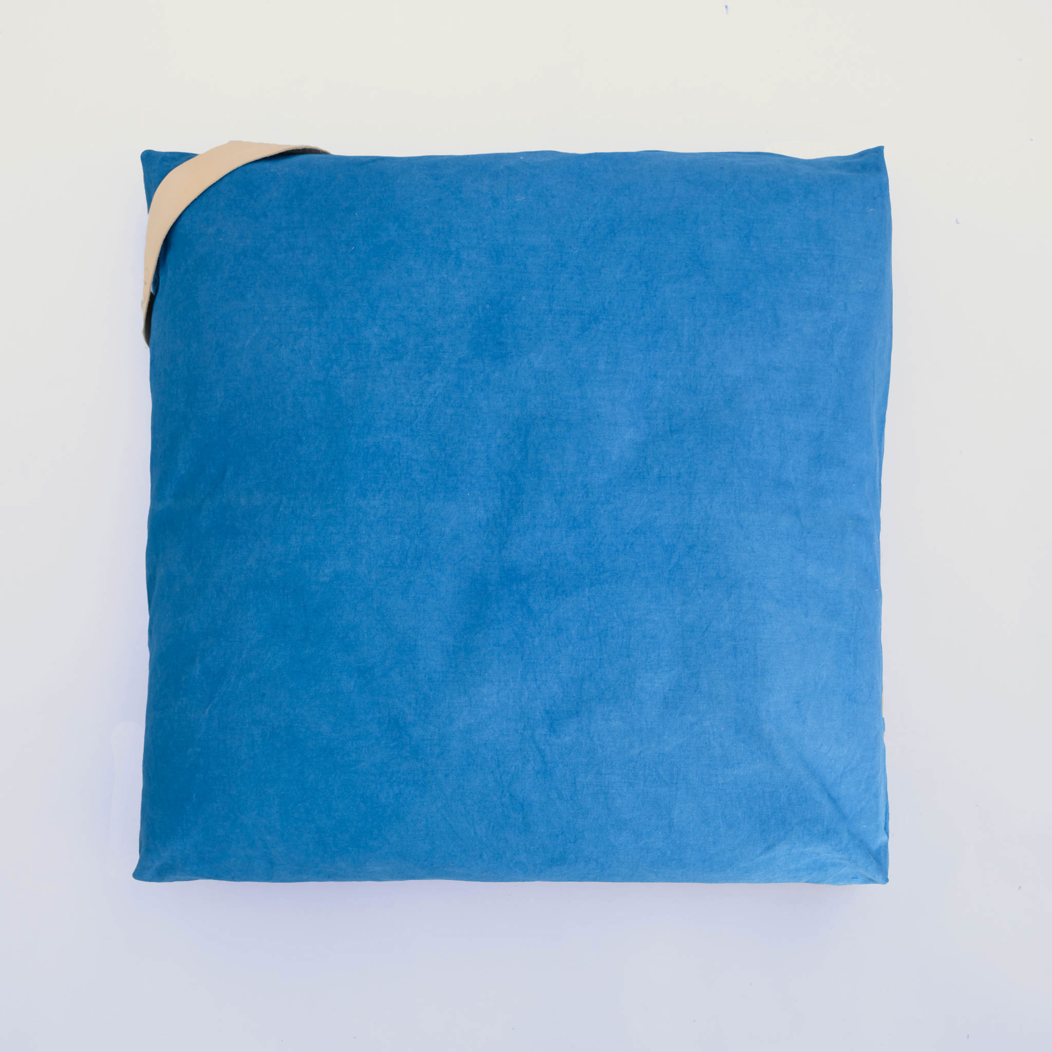 floor cushion naturally dyed sustainable organic cotton indigo front view