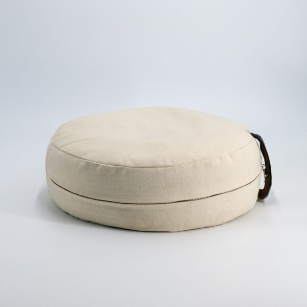 meditation cushion naturally dyed sustainable organic cotton black leather handle side