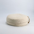 meditation cushion naturally dyed sustainable organic cotton brown leather handle side view
