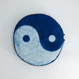 meditation cushion naturally dyed sustainable organic cotton ying yang top view