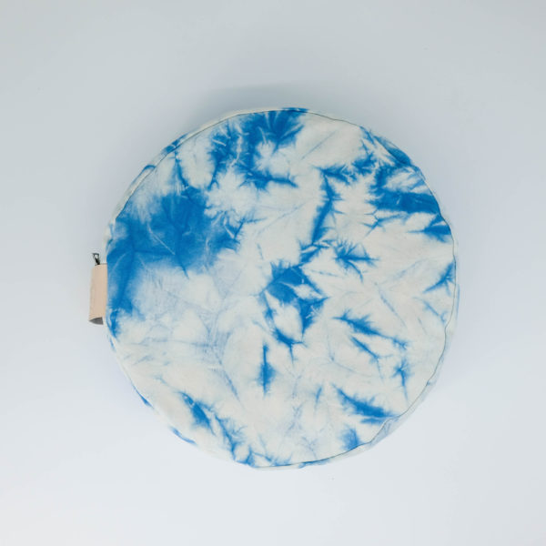 meditation cushion naturally dyed sustainable organic cotton blue sky day overhead