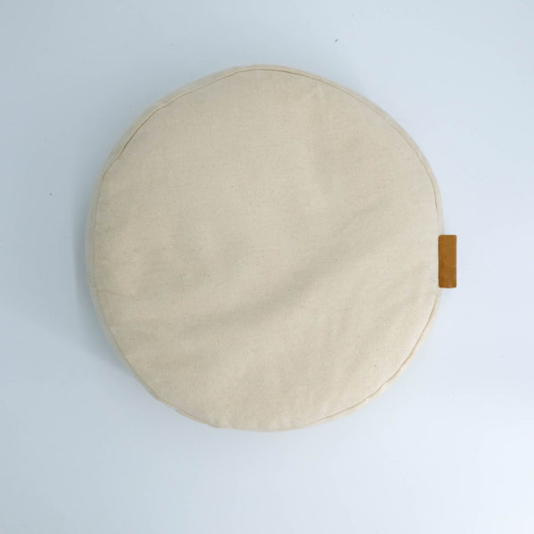 meditation cushion naturally dyed sustainable organic cotton brown leather handle top view