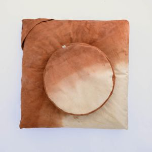 meditation cushion set naturally dyed sustainable organic cotton desert sunset top view