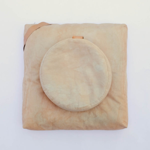 meditation cushion set naturally dyed sustainable organic cotton blush top view