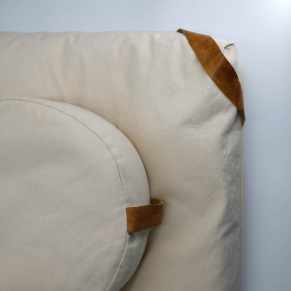 meditation cushion set naturally dyed sustainable organic cotton natural brown side view