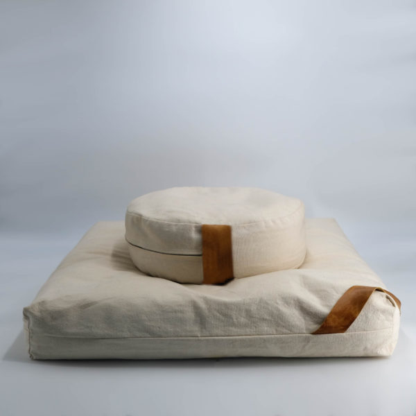 meditation cushion set naturally dyed sustainable organic cotton natural black side view