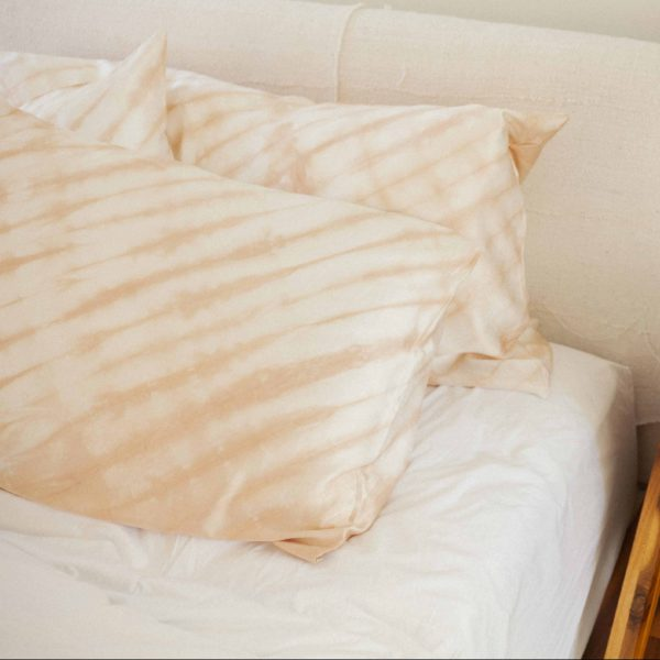 pillow case naturally hand dyed silk with avocado stones