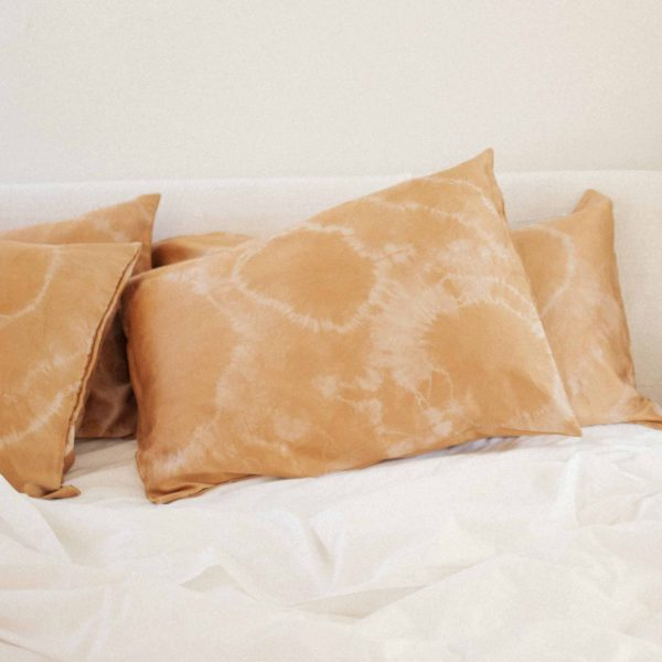pillowcase naturally hand dyed silk with black walnut and cutch