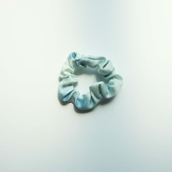 naturally dyed silk scrunchie blue sky day