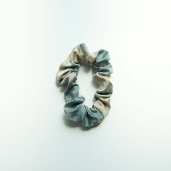 naturally dyed silk scrunchie cotton candy sky